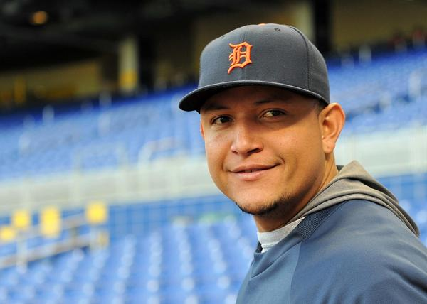 Detroit Tigers third baseman Miguel Cabrera (24) prior to a Sept. 27 game against the Miami Marlins at Marlins Park.