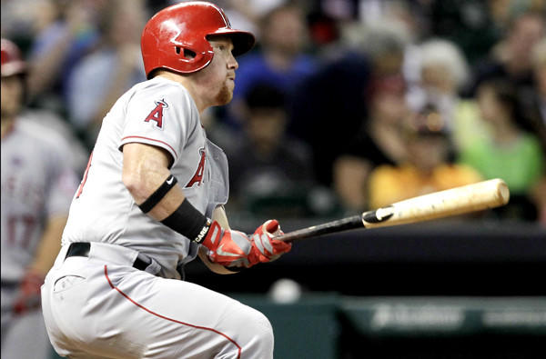 Angels outfielder Kole Calhoun doubles in the fourth inning against the Houston Astros earlier this month at Minute Maid Park.