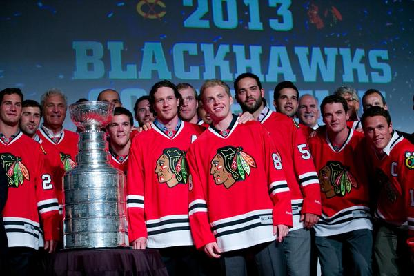 The Blackhawks poses with the Stanley Cup during the opening ceremonies of the Blackhawks Convention.