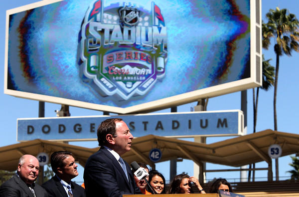 Commissioner Gary Bettman talks about the health of the NHL during a news conference at Dodger Stadium on Thursday.