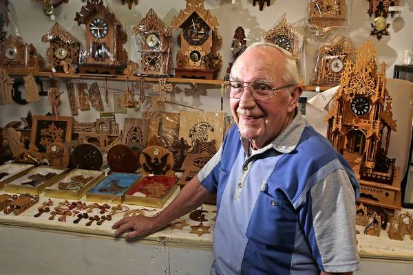 Hugh Kalns has been displaying his clocks and decorative carvings for 28 consecutive years at the Newport News Fall Festival. However, due to health problems the 2013 festival will be his last.
