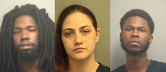 Lionel Cobb, 22, Andrew Leonard, 22, and Shelley Davis, 26. Each is facing charges in connection with an alleged burglary in Boynton Beach on Sept. 17. The incident lead to the recovery of a gun that had gone missing in Loxahatchee in March 2012.