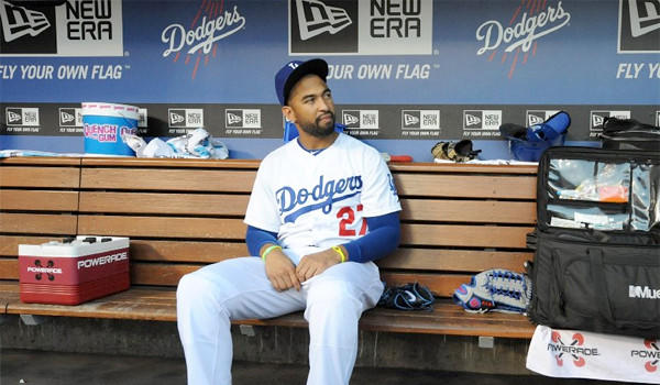 Dodgers outfielder Matt Kemp was scratched from the lineup Saturday night for precautionary reasons because of soreness in his left ankle.