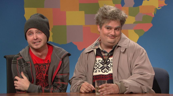 "Aaron Paul and Bobby Moynihan in the Drunk Uncle skit during ""Weekend Update."""