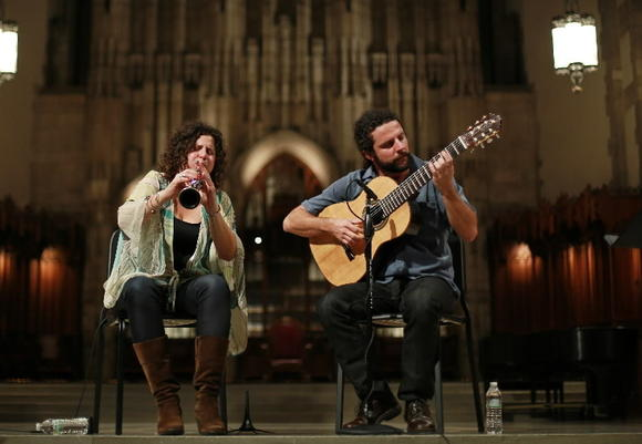 Clarinetist Anat Cohen and guitarist Douglas Lora perform during the Hyde Park Jazz Festival at the Rockefeller Chapel on the University of Chicago campus Saturday.
