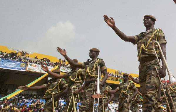 A marching band parade during the inauguration celebration of Mali's new president Ibrahim Boubacar Keita at the 26th of March Stadium September 2013.