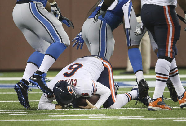 Bears quarterback Jay Cutler was sacked three times by Detroit on Sunday.