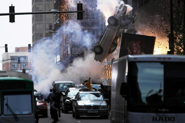 """Transformers: Age of Extinction"" films at the corner of South Wacker Drive and West Monroe Street Sept. 28, 2013."