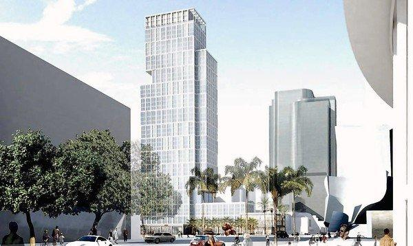 The centerpiece skyscraper of the Grand Avenue project, shown from a south-facing viewpoint in this rendering, was rejected on a 3 to 0 vote by members of the L.A. Grand Avenue Authority as not being up to expectations. The site is across from Disney Hall and the under-construction Broad Museum.