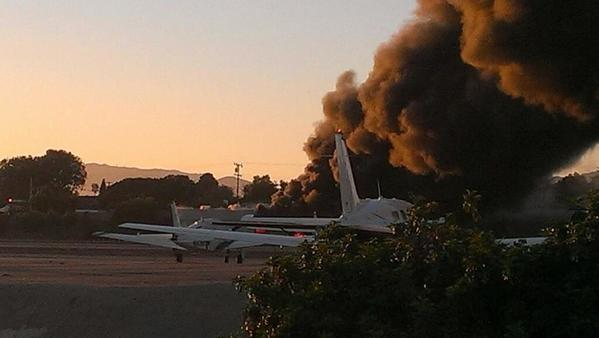 A small plane veered off the runway at Santa Monica Airport on Sunday and struck a nearby hangar.