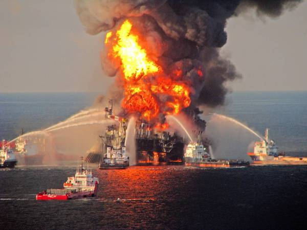 The Deepwater Horizon drilling rig burns in the Gulf of Mexico in April 2010.