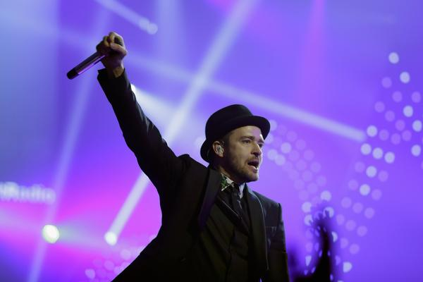 Justin Timberlake performs onstage during the iHeartRadio Music Festival in Las Vegas, Nevada.