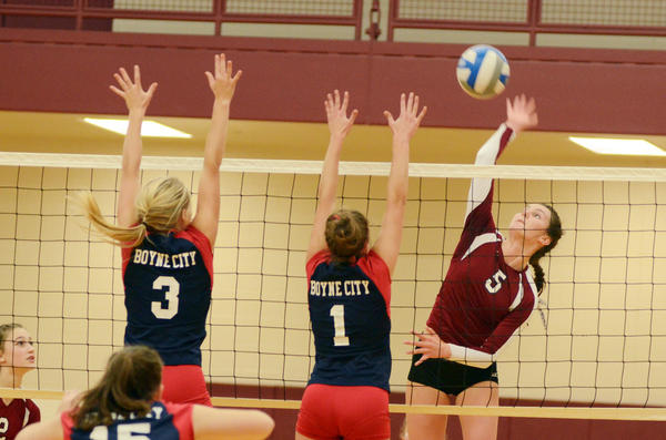 Charlevoix's Madeline Boss (right) had a team-high 61 kills, added 13 digs, nine blocks and eight aces as the Rayders placed third Saturday at the Morley Stanwood Invitational tournament.
