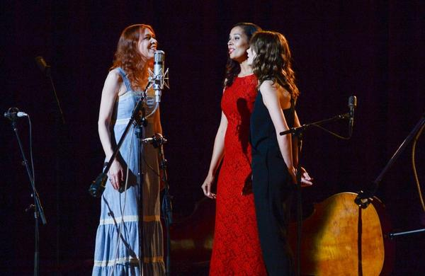 "Singers Gillian Welsh, left, Rhiannon Giddens and actress Carey Mulligan perform together during ""Another Day, Another Time: Celebrating the Music of Inside Llewyn Davis"" at The Town Hall on Sunday in New York."