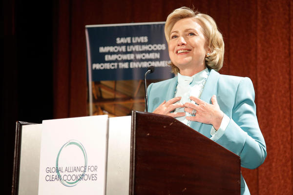 Former U.S. Secretary of State Hillary Rodham Clinton speaks at a reception commemorating the Global Alliance For Clean Cookstoves third anniversary in New York.