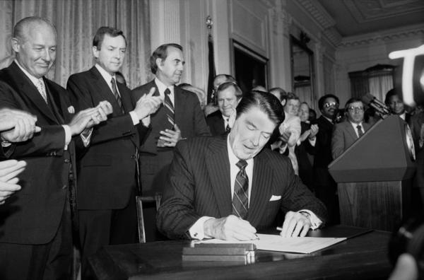 In 1982, President Reagan signs an expansion of the 1965 Voting Rights Act. The Justice Department is suing North Carolina for alleged racial discrimination over tough new voting rules, the latest effort by the Obama administration to fight back against a Supreme Court decision that struck down the most powerful part of the landmark Voting Rights Act and freed southern states from strict federal oversight of their elections.