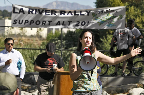 Glendale Councilwoman Laura Friedman speaks to the crowds in favor of Alternative 20 at Marsh Park during the Los Angeles River Rally, in Los Angeles on Saturday, Sept. 28, 2013. The rally was in support of the Alternative 20 plan, a $1.08-billion project that would add nearly 30 acres of wetlands to the Verdugo Wash in Glendale and widen the river.