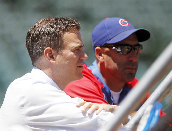 Chicago Cubs president Theo Epstein and manager Dale Sveum before the game Friday, July 12, 2013 at Wrigley Field.