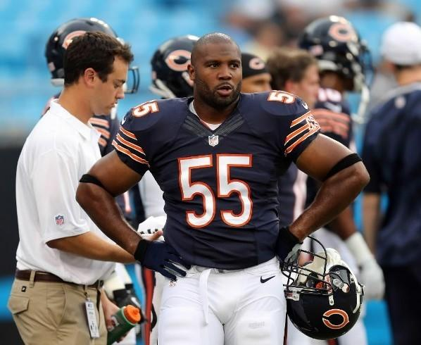 The Bears' Lance Briggs before his team's pre-season against the Carolina Panthers Aug. 9, 2013 at Bank of America Stadium in Charlotte.