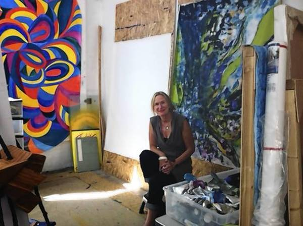 Artist Wendy Thornycroft is pictured amidst paintings and sculptures in her studio at the Re-Invent Gallery in Lake Forest.