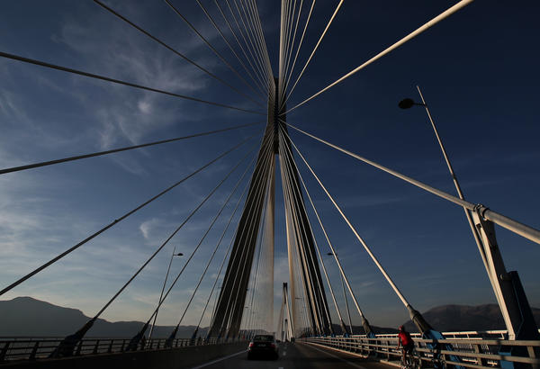 According to a report by ZenithOptimedia, advertising spending worldwide is expected to increase 5% next year, with part of the increase stemming from interest in the Winter Olympics in Sochi, Russia. Above, the 560-meter Charilaos Trikoupis bridge near the city of Patras in Southern Greece, which opened shortly before the 2004 Olympic Games in Athens. The torch relay for the Winter Games in Russia was expected to pass over the bridge.
