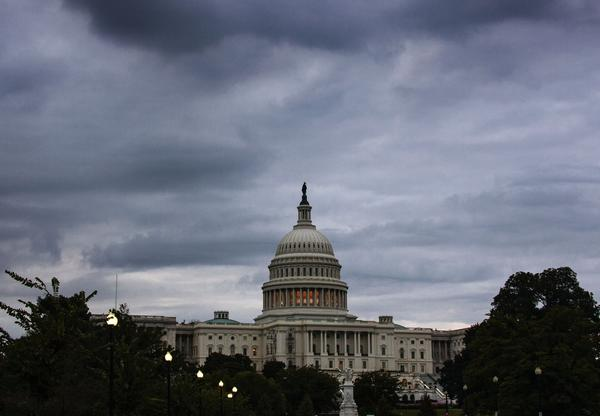 Storm clouds hang over Capitol Hill in Washington.