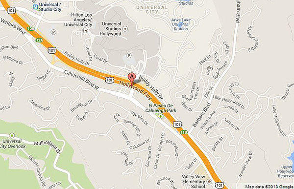 A map shows the approximate location of where a man fell from a 'party bus' and died after being struck by several vehicles on the 101 Freeway Sunday morning.