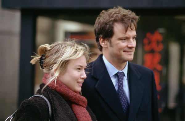 "Renee Zellweger as Bridget Jones and Colin Firth as the then-still-alive Mark Darcy in the film ""Bridget Jones: The Edge of Reason."""