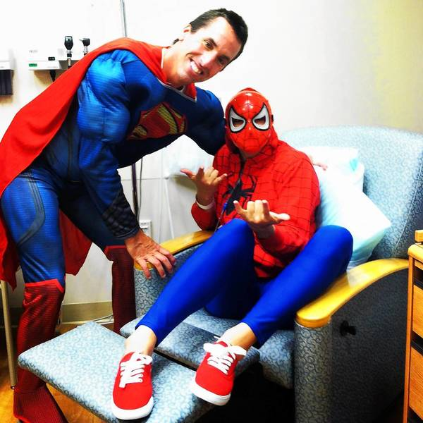 To make chemotherapy easier, Kayla Redig has assigned themes for her treatment days. With father, Tom, they dressed up for a superhero theme.