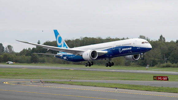 The 787-9 Dreamliner takes off from Paine Field in Everett, Wash., on its first test flight Sept. 17.