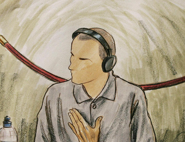 In this 2004 courtroom illustration, Ali Hamza Ahmad Sulayman al Bahlul appears before a military commission at Guantanamo Naval Base in Cuba in Guantanamo, Cuba.