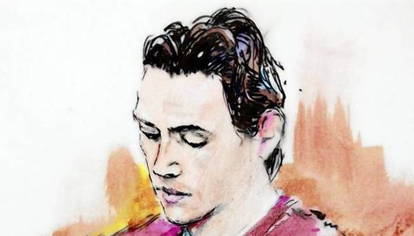 A clean-shaven James Holmes appears in court in Centennial, Colorado in this September 2013 court sketch.