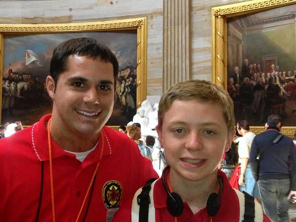 Vincent Ferdock, 14, of Zionsville last week toured Washington, D.C., for a National Burn Camp. He and Reading's Steven Leymeister, his counselor from Camp Susquehanna, Lancaster County, tour the Capitol.