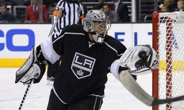 Kings goalie Jonathan Quick makes a save during a preseason win over the Ducks on Tuesday.