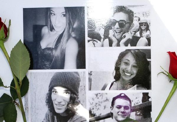 A collage with photos of car crash victims, clockwise, from top left, Sugey Cuevas, Sameer Nevarez, Malak Hariri, Stephen Stoll and Sebastian Forero was placed at a memorial set up on San Fernando Road where it crosses under Golden State (5) Freeway on Monday, where the fatal incident occurred.