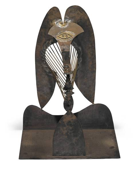 This 41.5-inch metal model of Picasso's famous sculpture in Chicago will be on display in town before it is auctioned.