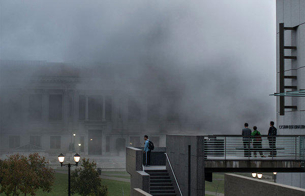 Smoke fills the UC Berkeley campus after an explosion on Monday evening.
