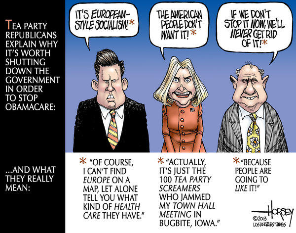 Government shut down by tea party enemies of Obamacare