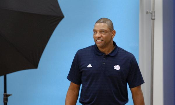 Clippers Coach Doc Rivers during Clippers media day Monday. The former Boston Celtics coach thinks highly of the Lakers.