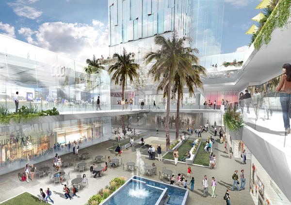 A rendering by Gensler of a conceptual plan for a retail and residential complex across Grand Avenue from Walt Disney Concert Hall.