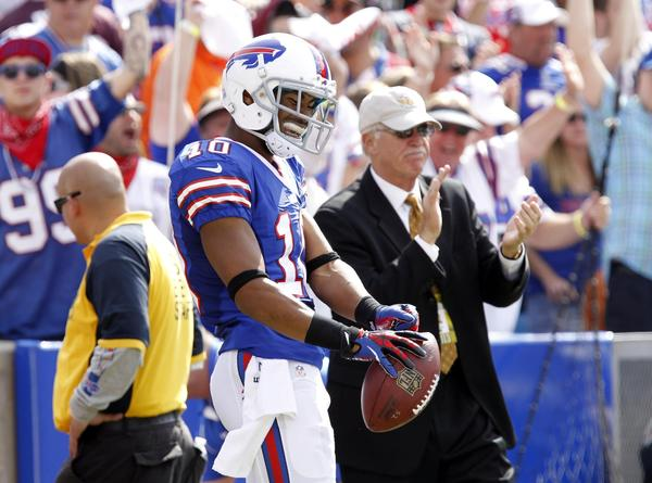 Buffalo Bills wide receiver Robert Woods celebrates his touchdown catch against the Baltimore Ravens last month.