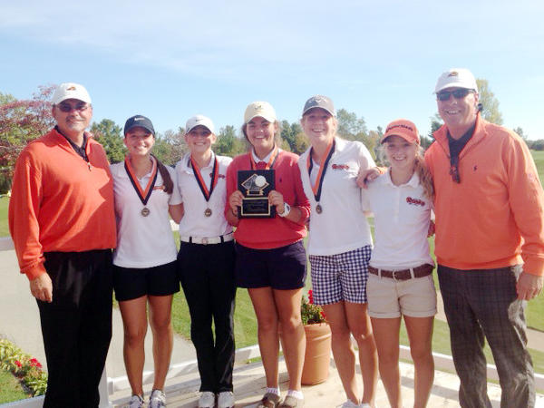 Harbor Springs won the Cheboygan Invitational Monday at the Cheboygan Golf and Country Club as they shot a school-record 341. Team members are (from left) assistant coach Joe Breighner, Sadie Cwikiel, Abby Detmar, Ellen Breighner, Perry Bower, Zoey Bezilla and coach Pete Kelbel.