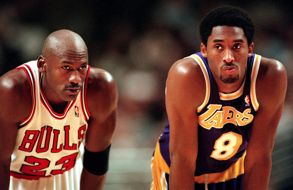 Michael Jordan and Kobe Bryant during a 1997 game.