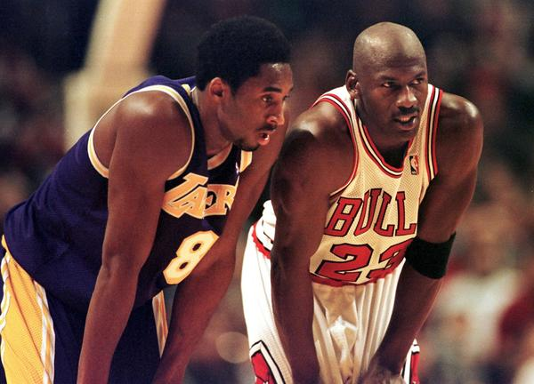 A 19-year-old Kobe Bryant, left, and the Lakers took on 34-year-old Michael Jordan and the Chicago Bulls in 1997.