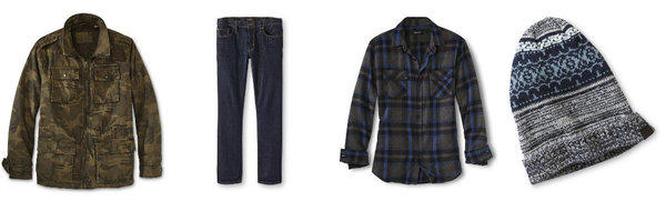 Pieces from Adam Levine's exclusive-to-Kmart apparel and accessories collection include, from left, camouflage jackets, jeans, plaid shirts and beanies. The collection hit retail stores Tuesday.