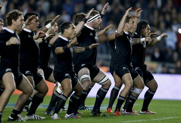 New Zealand All Blacks players perform the haka, a traditional Maori challenge, before playing against Argentina in La Plata, Argentina, on Saturday.