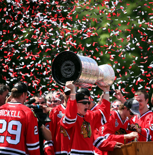 Patrick Kane hoists the Stanley Cup