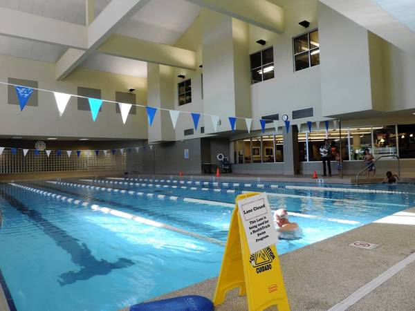 Five lane lap pool at Health Track Sports Wellness in Glen Ellyn.
