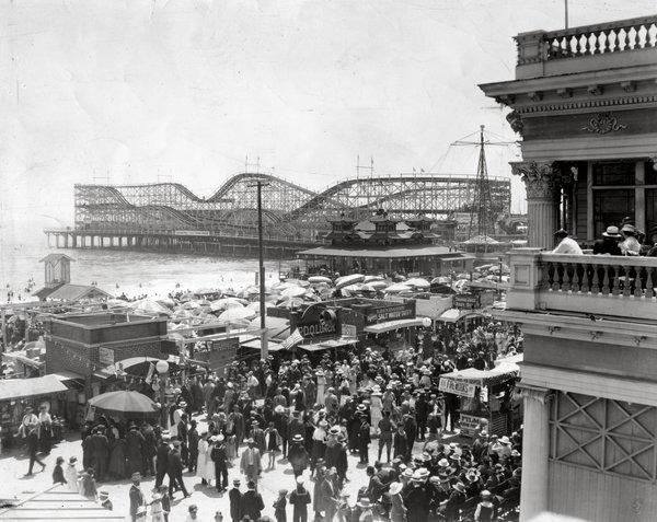 An undated photo of the Long Beach waterfront shows a long-gone roller coaster perched by the sea.