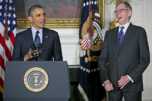 "President Obama with Thomas ""Tom"" Wheeler, his nominee as chairman of the Federal Communications Commission (FCC), in May."